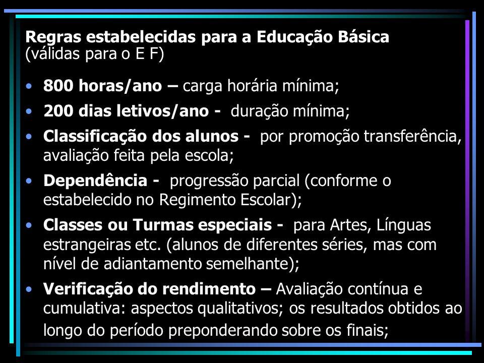 Regras estabelecidas para a Educação Básica (válidas para o E F) 800 horas/ano – carga horária mínima; 200 dias letivos/ano - duração mínima; Classifi