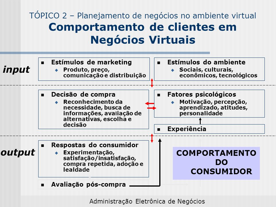 Administração Eletrônica de Negócios Estímulos de marketing Produto, preço, comunicação e distribuição Estímulos do ambiente Sociais, culturais, econô