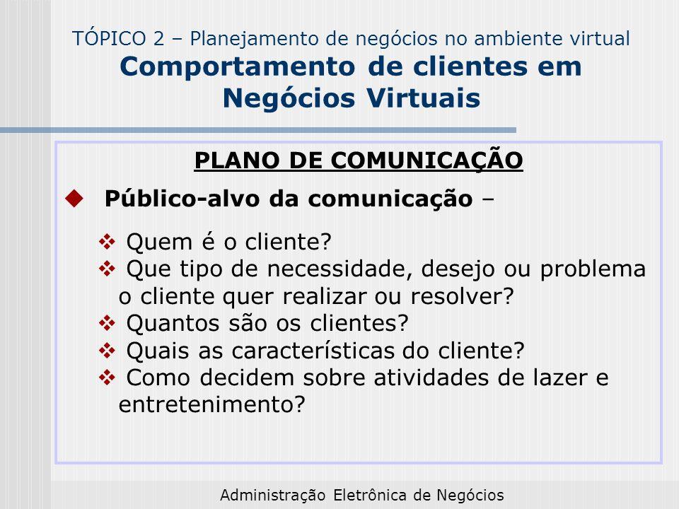 Administração Eletrônica de Negócios PLANO DE COMUNICAÇÃO Público-alvo da comunicação – Quem é o cliente? Que tipo de necessidade, desejo ou problema