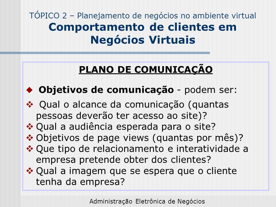 Administração Eletrônica de Negócios PLANO DE COMUNICAÇÃO Objetivos de comunicação - podem ser: Qual o alcance da comunicação (quantas pessoas deverão