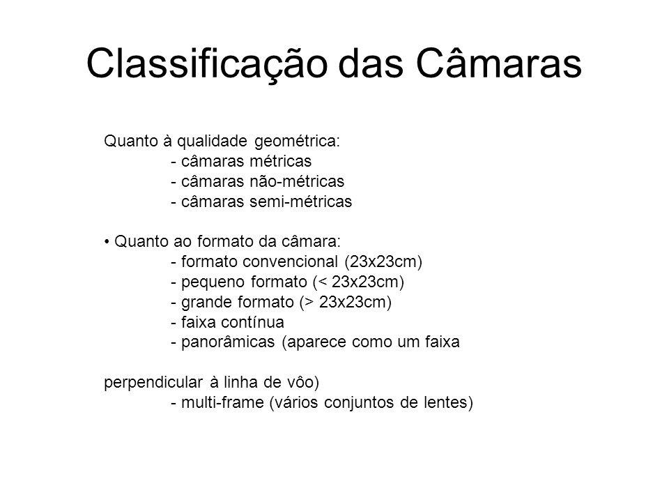 Classificação das Câmaras Quanto à qualidade geométrica: - câmaras métricas - câmaras não-métricas - câmaras semi-métricas Quanto ao formato da câmara