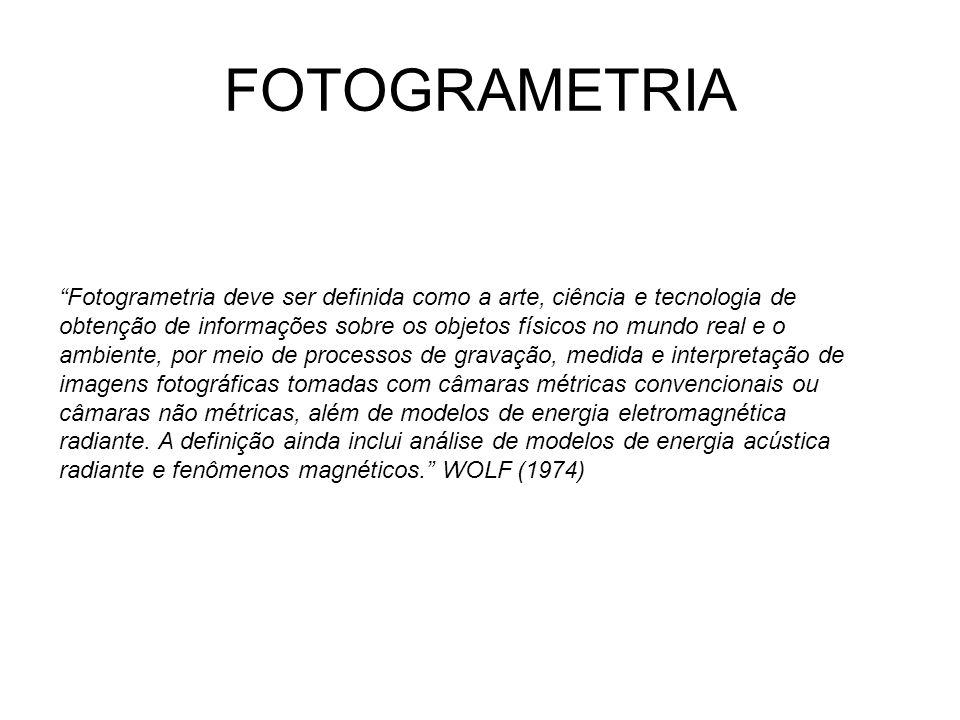 CONCEITO FOTOGRAMETRIA A ciência do processo consiste na análise das fotografias, tal como a interpretação dos dados, além do desenvolvimento de modelos matemáticos que cumprem o mister de relacionamento entre os espaços imagem e objeto envolvidos nas medidas dos dados com o uso da tecnologia ao qual se refere.