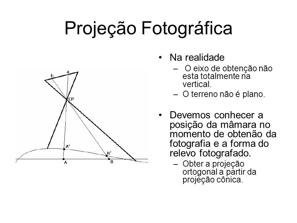 Projeção Fotográfica Objetivando reduzir o erro devido a forma cônica do fotograma devemos conhecer de forma precisa: –A distância focal calibrada da câmara.