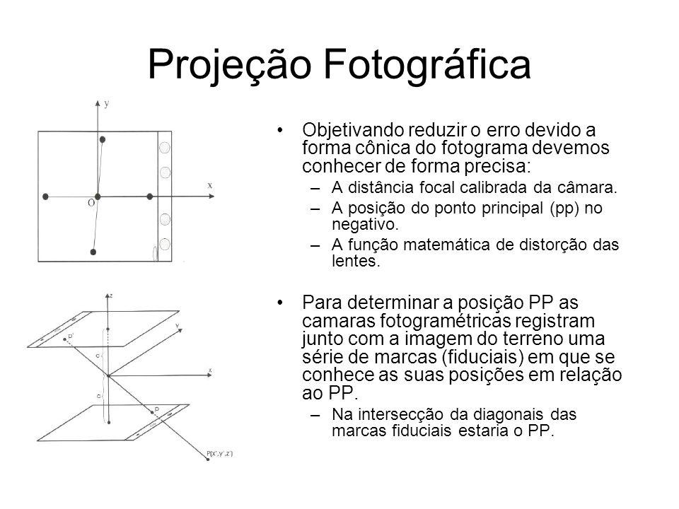 Projeção Fotográfica Objetivando reduzir o erro devido a forma cônica do fotograma devemos conhecer de forma precisa: –A distância focal calibrada da