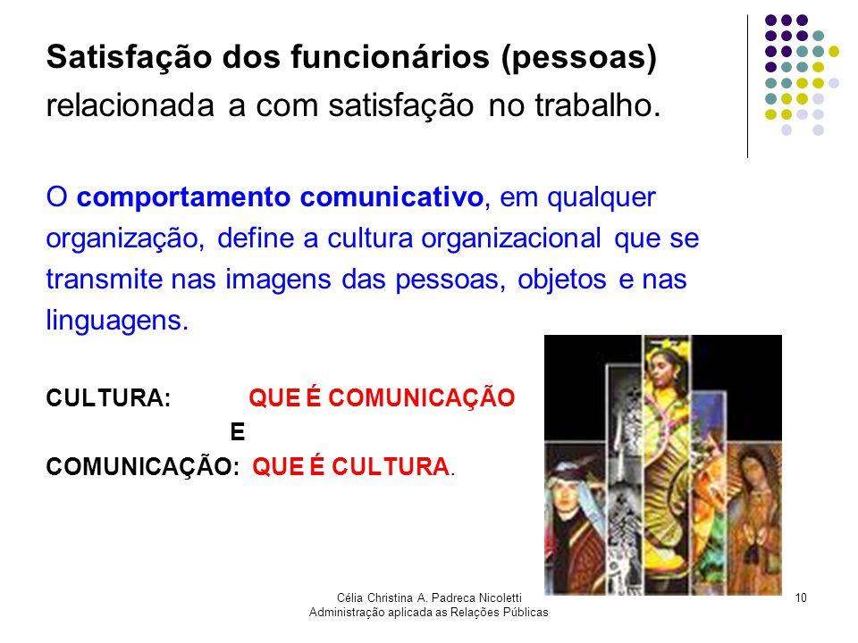 Célia Christina A. Padreca Nicoletti Administração aplicada as Relações Públicas 10 Satisfação dos funcionários (pessoas) relacionada a com satisfação