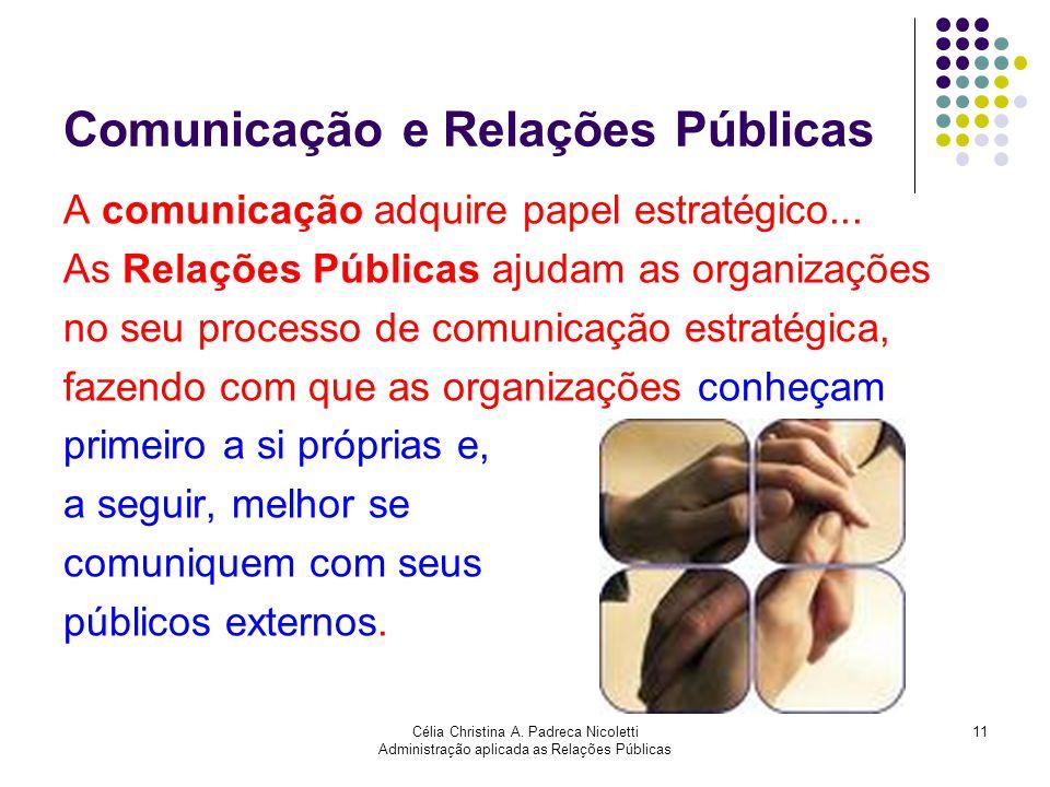 Célia Christina A. Padreca Nicoletti Administração aplicada as Relações Públicas 11 Comunicação e Relações Públicas A comunicação adquire papel estrat