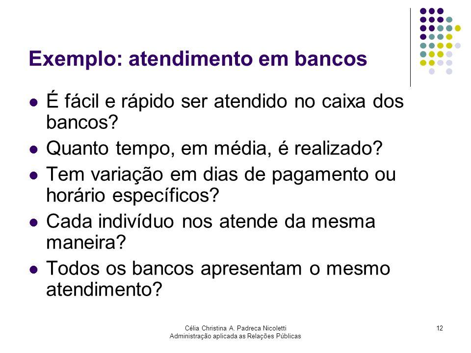 Célia Christina A. Padreca Nicoletti Administração aplicada as Relações Públicas 12 Exemplo: atendimento em bancos É fácil e rápido ser atendido no ca