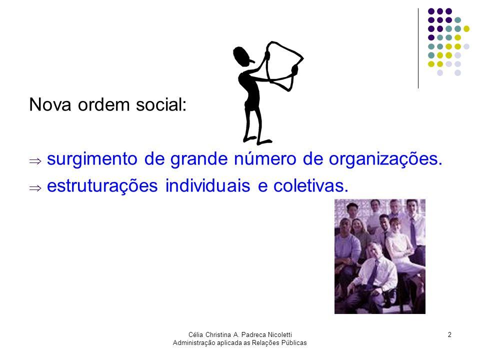 Célia Christina A. Padreca Nicoletti Administração aplicada as Relações Públicas 2 Nova ordem social: surgimento de grande número de organizações. est