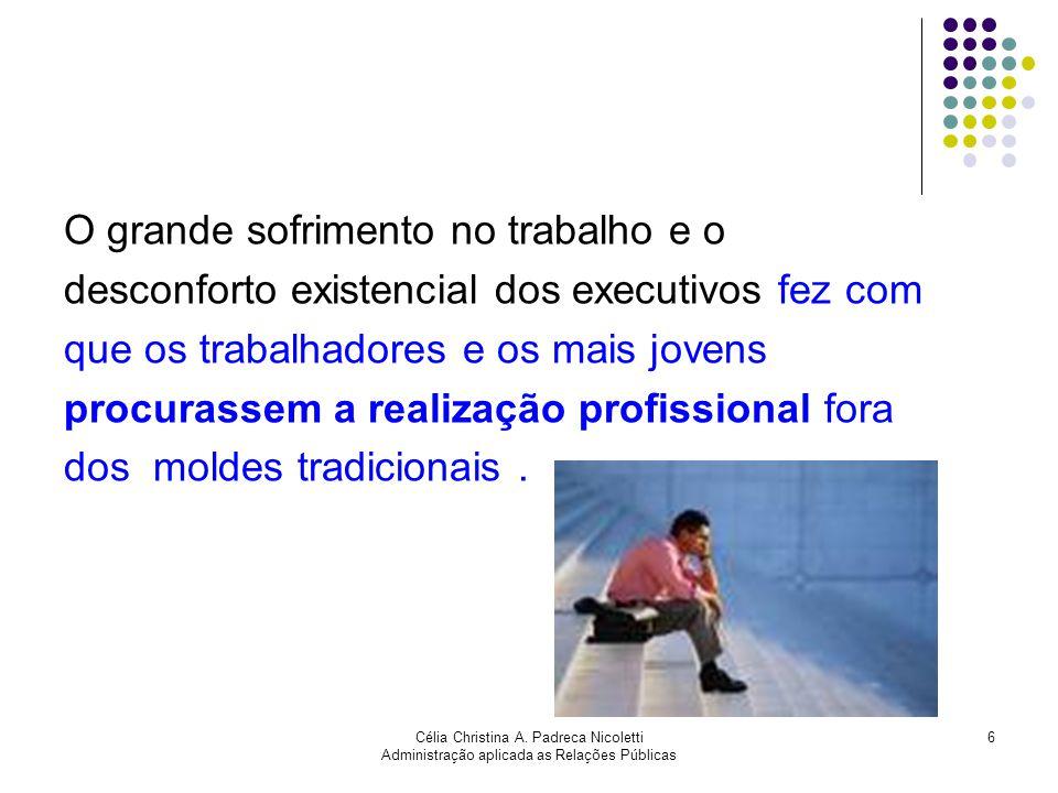 Célia Christina A. Padreca Nicoletti Administração aplicada as Relações Públicas 6 O grande sofrimento no trabalho e o desconforto existencial dos exe