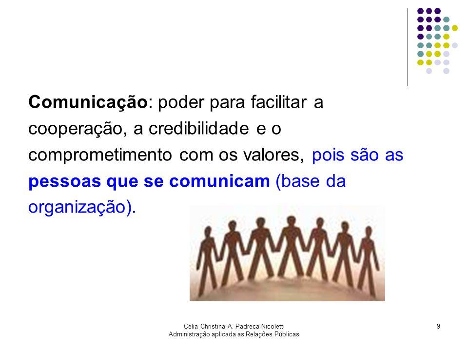 Célia Christina A. Padreca Nicoletti Administração aplicada as Relações Públicas 9 Comunicação: poder para facilitar a cooperação, a credibilidade e o