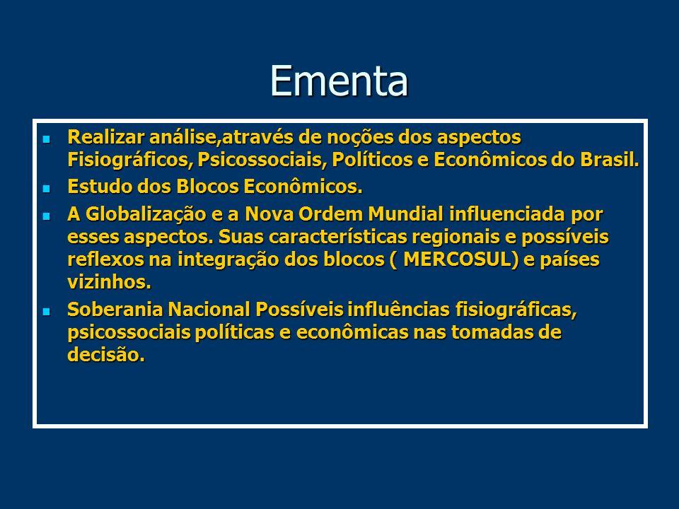 Ementa Realizar análise,através de noções dos aspectos Fisiográficos, Psicossociais, Políticos e Econômicos do Brasil.