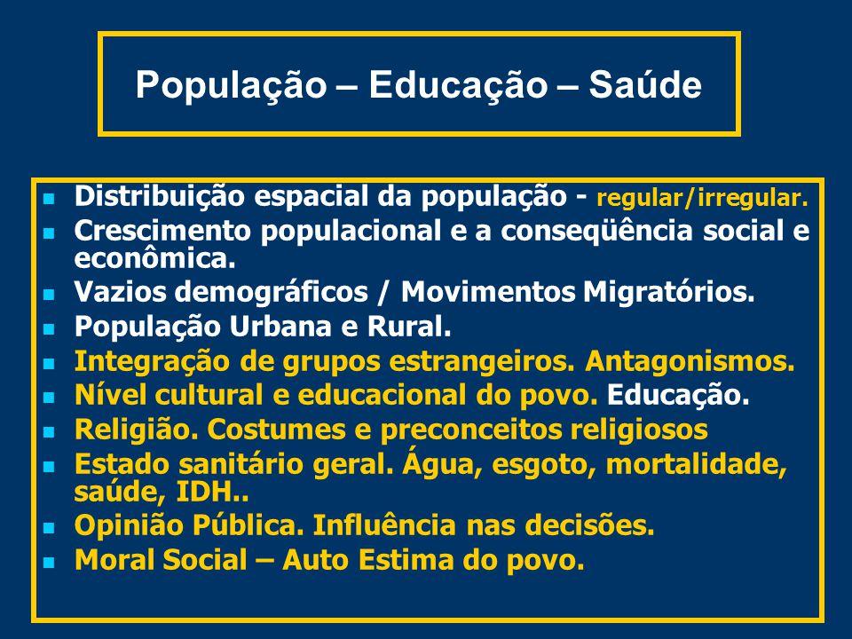 População – Educação – Saúde Distribuição espacial da população - regular/irregular.