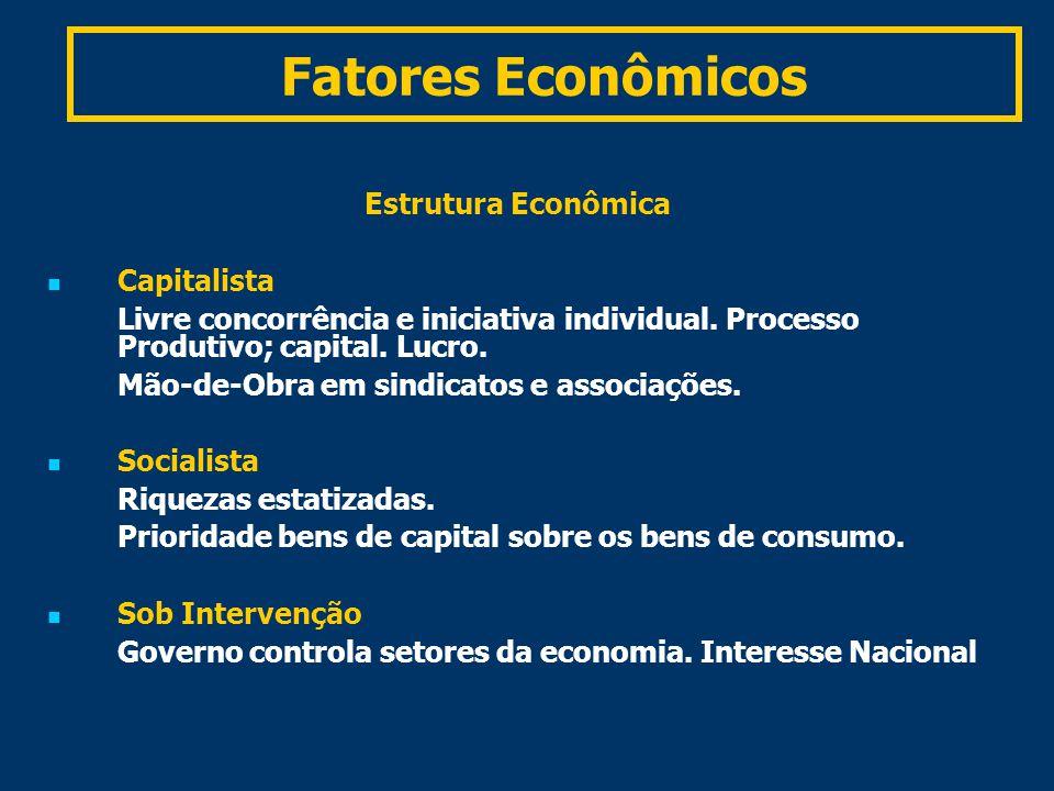 Fatores Econômicos Estrutura Econômica Capitalista Livre concorrência e iniciativa individual.