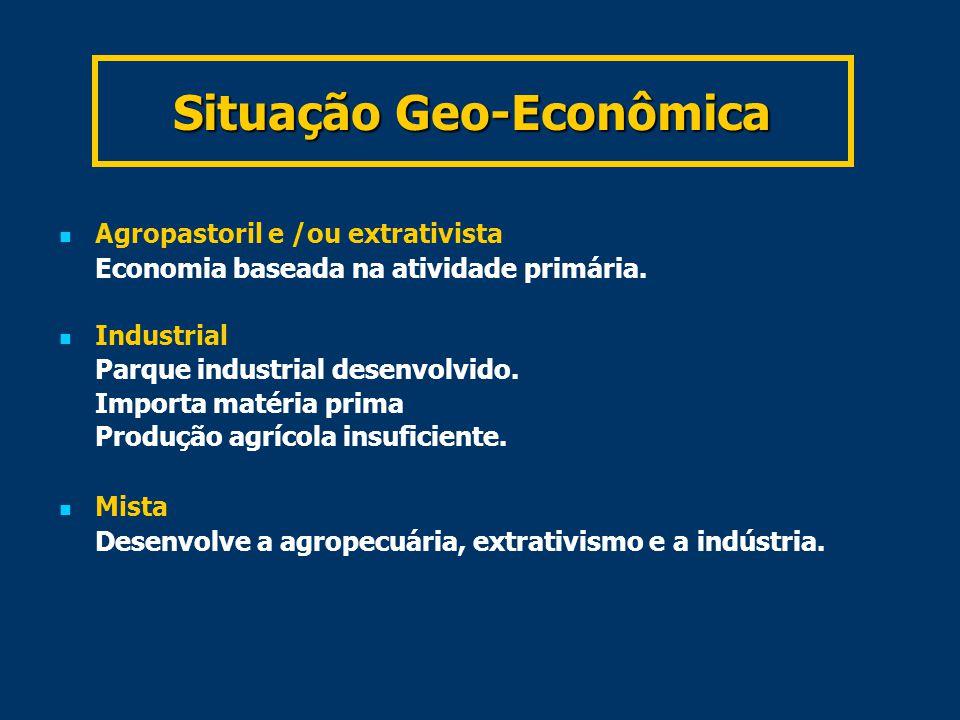 Situação Geo-Econômica Agropastoril e /ou extrativista Economia baseada na atividade primária.