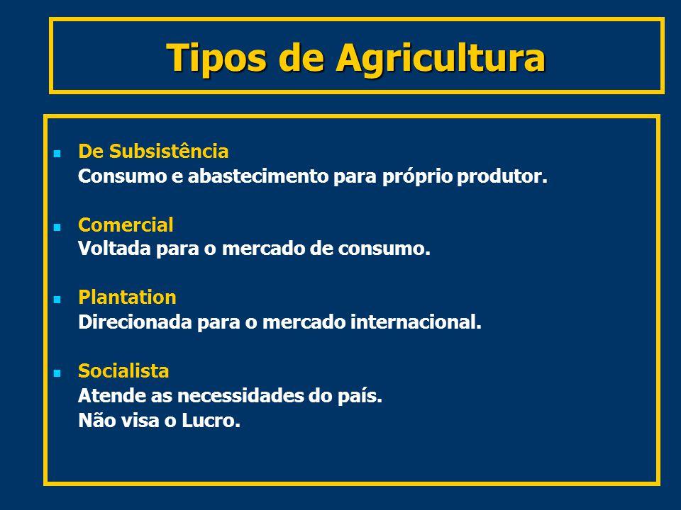 Tipos de Agricultura De Subsistência Consumo e abastecimento para próprio produtor.