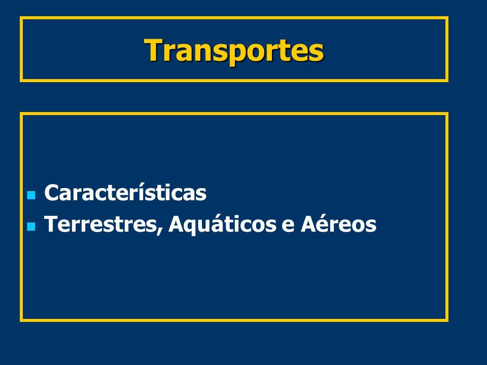 Transportes Características Terrestres, Aquáticos e Aéreos