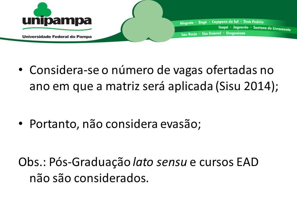 Considera-se o número de vagas ofertadas no ano em que a matriz será aplicada (Sisu 2014); Portanto, não considera evasão; Obs.: Pós-Graduação lato se
