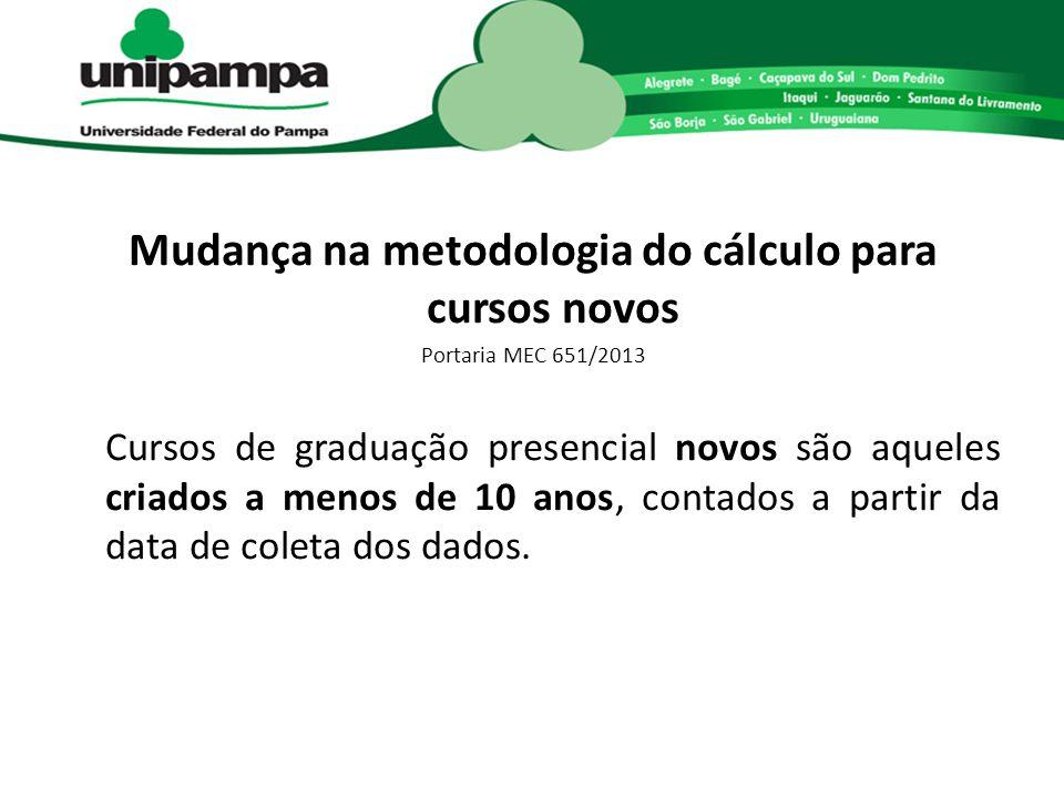 Mudança na metodologia do cálculo para cursos novos Portaria MEC 651/2013 Cursos de graduação presencial novos são aqueles criados a menos de 10 anos,