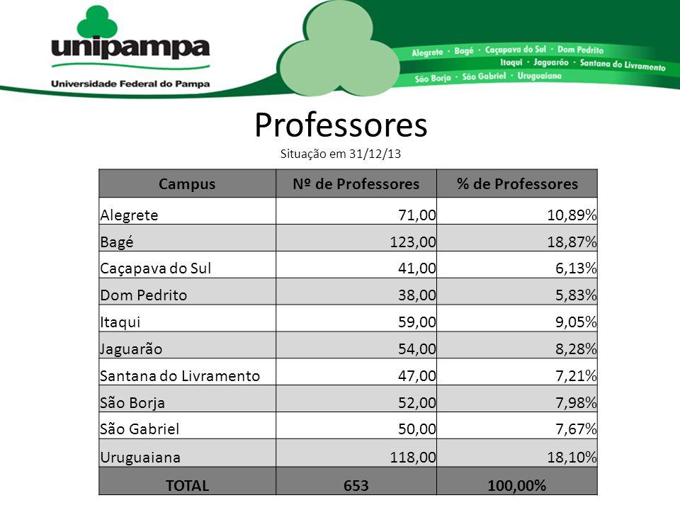 Professores Situação em 31/12/13 CampusNº de Professores% de Professores Alegrete71,0010,89% Bagé123,0018,87% Caçapava do Sul41,006,13% Dom Pedrito38,