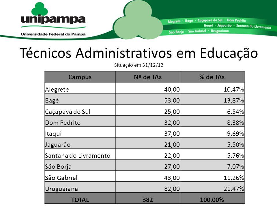 Técnicos Administrativos em Educação Situação em 31/12/13 CampusNº de TAs% de TAs Alegrete40,0010,47% Bagé53,0013,87% Caçapava do Sul25,006,54% Dom Pe