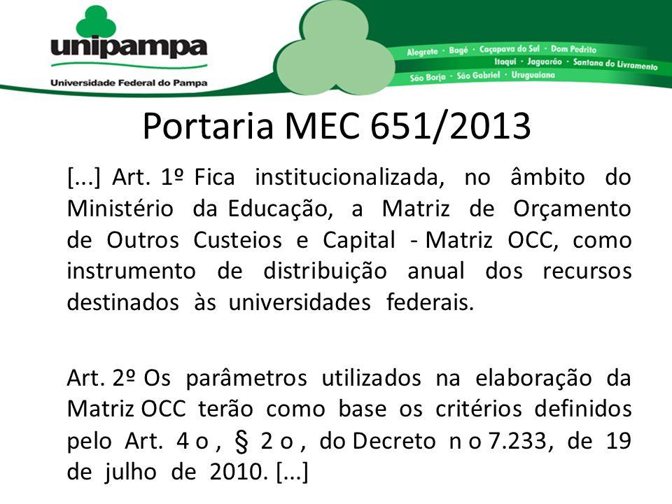 Portaria MEC 651/2013 [...] Art. 1º Fica institucionalizada, no âmbito do Ministério da Educação, a Matriz de Orçamento de Outros Custeios e Capital -
