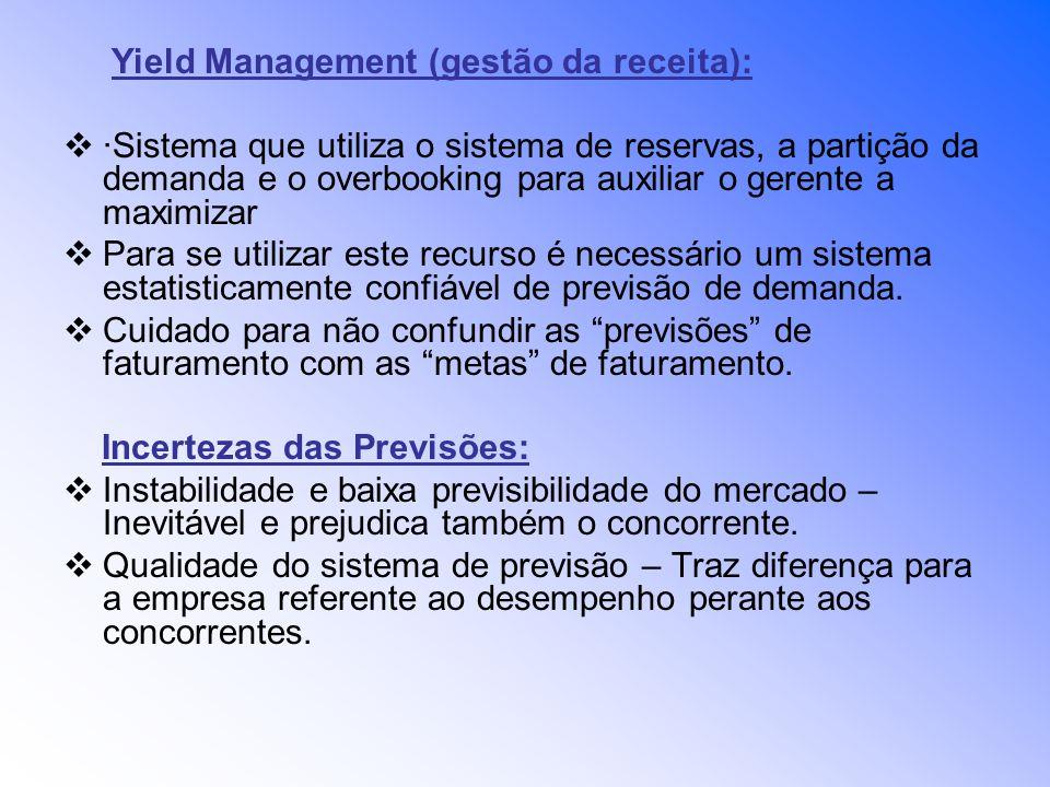 Yield Management (gestão da receita): ·Sistema que utiliza o sistema de reservas, a partição da demanda e o overbooking para auxiliar o gerente a maxi