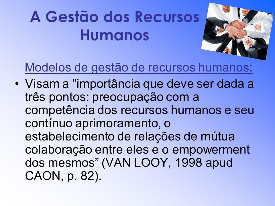A Gestão dos Recursos Humanos Modelos de gestão de recursos humanos: Visam a importância que deve ser dada a três pontos: preocupação com a competênci