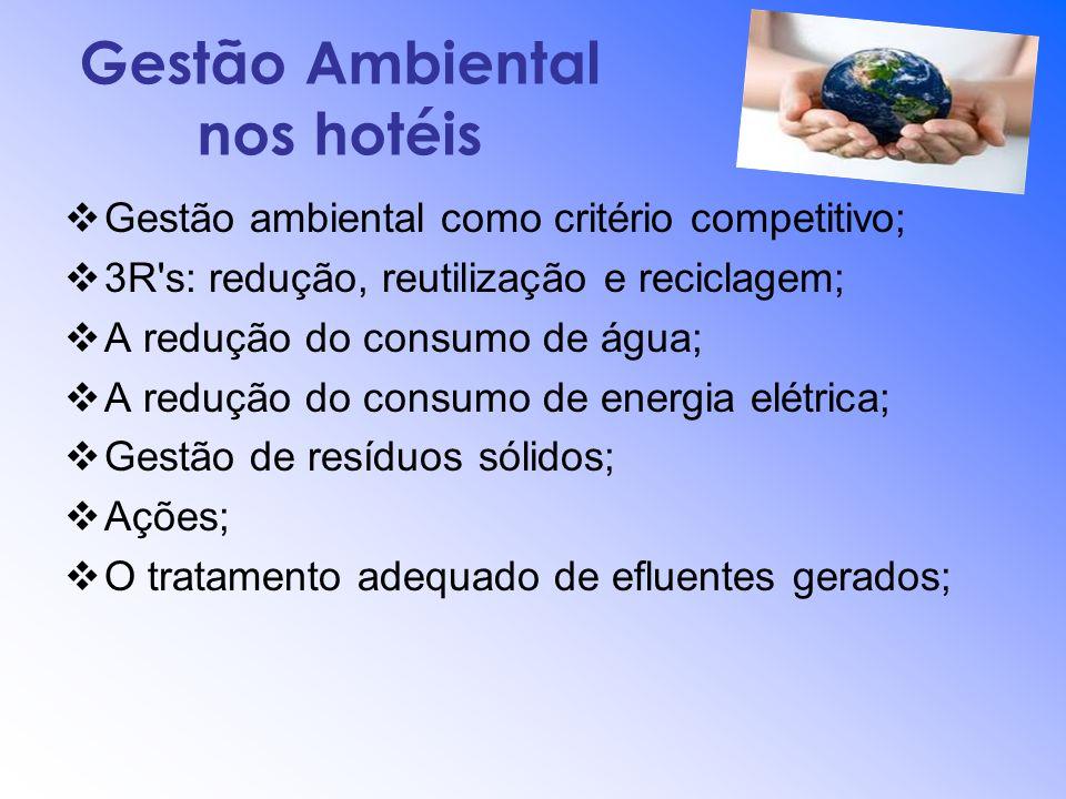 Gestão Ambiental nos hotéis Gestão ambiental como critério competitivo; 3R's: redução, reutilização e reciclagem; A redução do consumo de água; A redu
