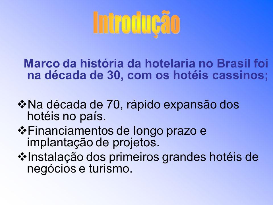 Marco da história da hotelaria no Brasil foi na década de 30, com os hotéis cassinos; Na década de 70, rápido expansão dos hotéis no país. Financiamen