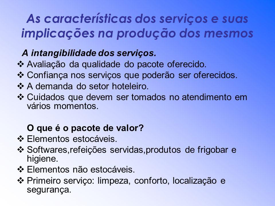 As características dos serviços e suas implicações na produção dos mesmos A intangibilidade dos serviços. Avaliação da qualidade do pacote oferecido.