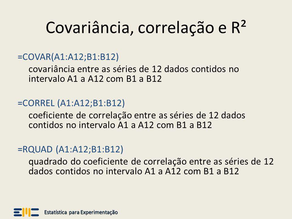 Estatística para Experimentação Covariância, correlação e R² =COVAR(A1:A12;B1:B12) covariância entre as séries de 12 dados contidos no intervalo A1 a