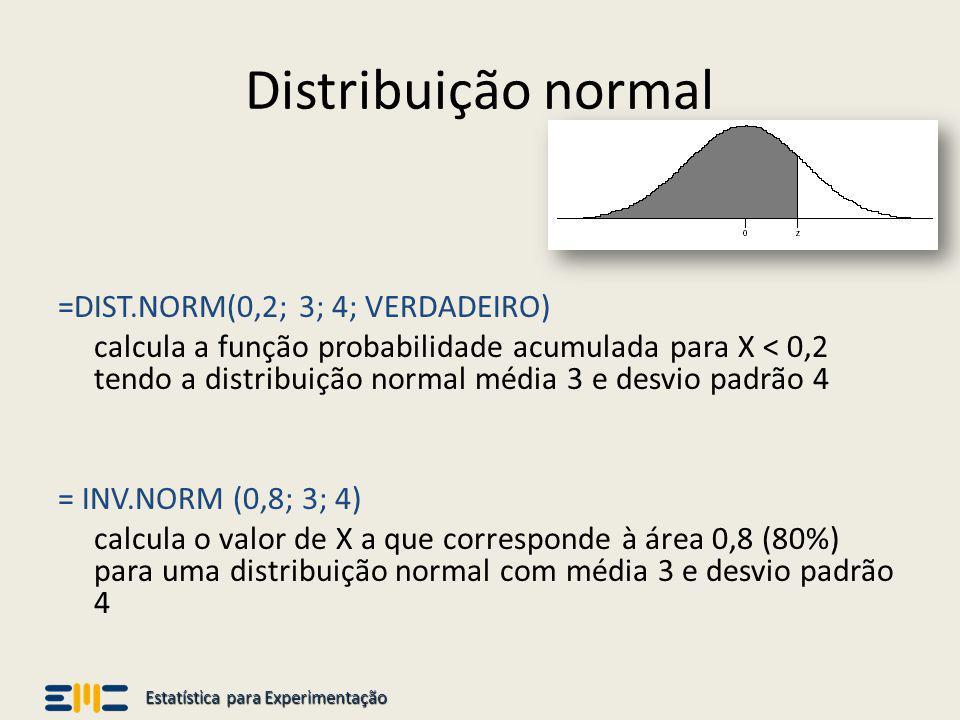 Estatística para Experimentação Distribuição normal =DIST.NORM(0,2; 3; 4; VERDADEIRO) calcula a função probabilidade acumulada para X < 0,2 tendo a di