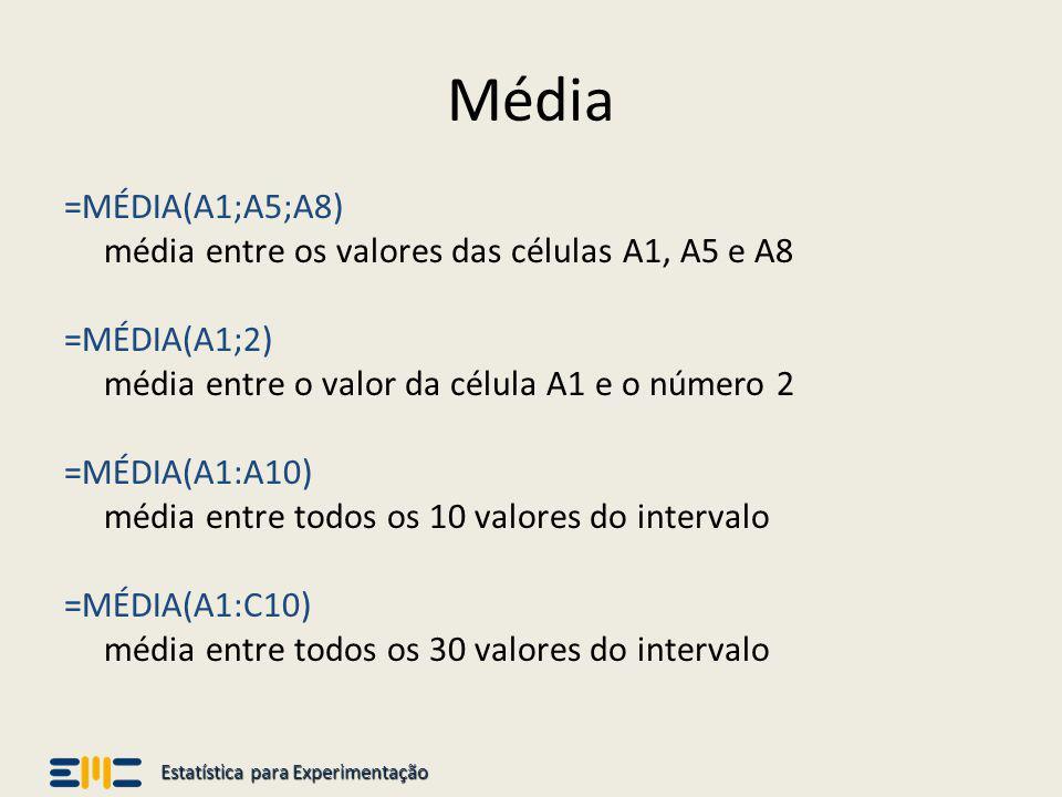 Estatística para Experimentação Mediana =MED(A1;A5;A8) mediana entre os valores das células A1, A5 e A8 =MED(A1;2) mediana entre o valor da célula A1 e o número 2 =MED(A1:A10) mediana entre todos os 10 valores do intervalo =MED(A1:C10) mediana entre todos os 30 valores do intervalo