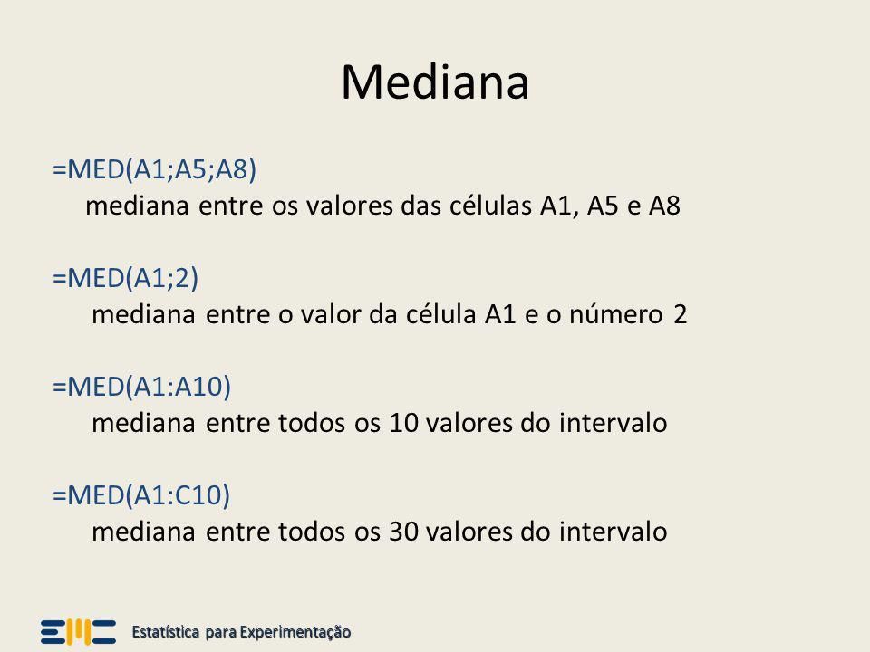 Estatística para Experimentação Soma =SOMA (A1;A5;A8) calcula a soma dos valores das células A1, A5 e A8 =SOMA(A1;2) calcula a soma do valor da célula A1 e o número 2 =SOMA(A1:A10) calcula a soma dos 10 valores do intervalo entre A1 e A10 =SOMA(A1:C10) calcula a soma dos 30 valores do intervalo