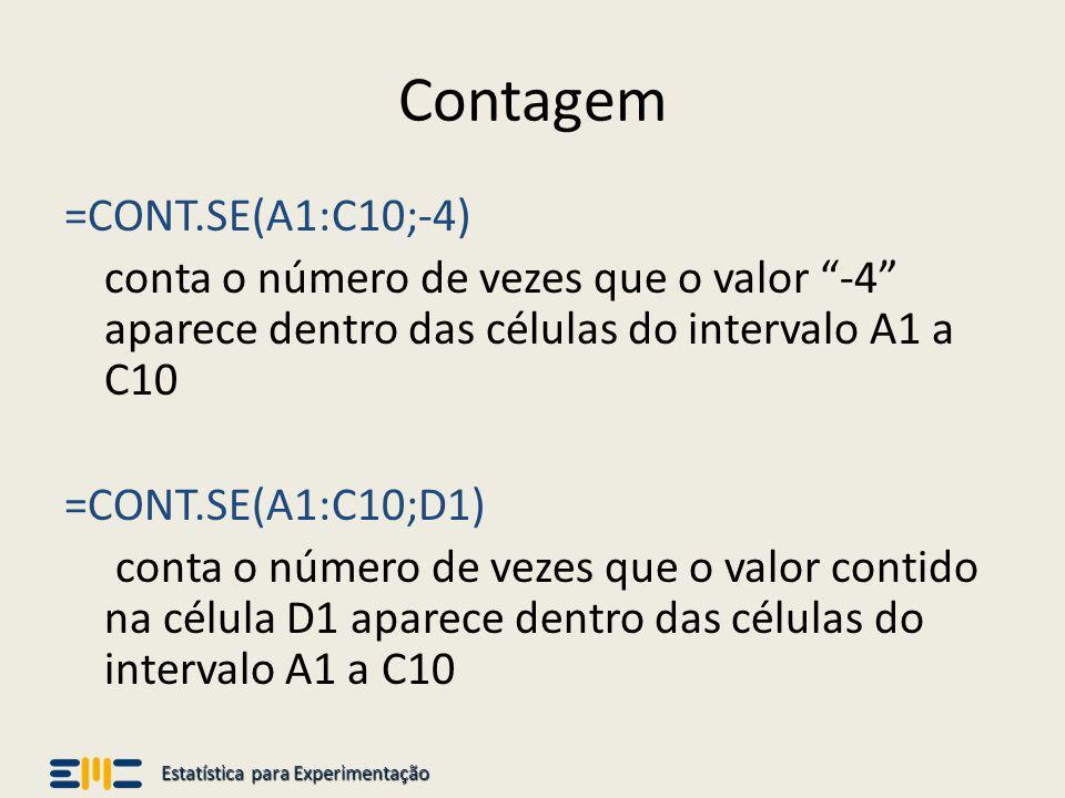 Estatística para Experimentação Contagem =CONT.SE(A1:C10;-4) conta o número de vezes que o valor -4 aparece dentro das células do intervalo A1 a C10 =