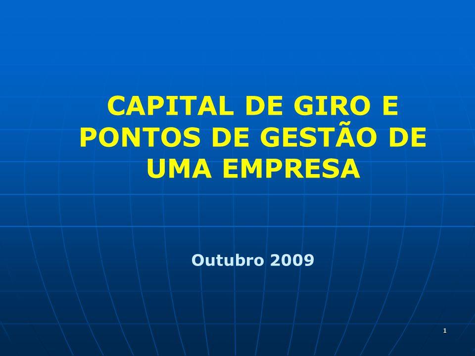 1 CAPITAL DE GIRO E PONTOS DE GESTÃO DE UMA EMPRESA Outubro 2009