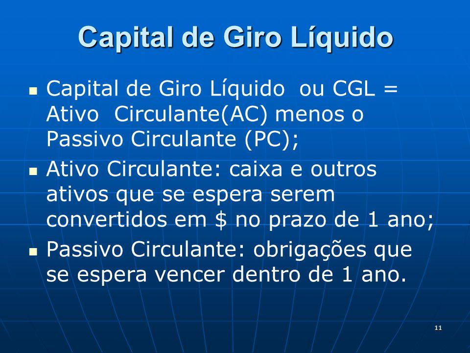 11 Capital de Giro Líquido Capital de Giro Líquido ou CGL = Ativo Circulante(AC) menos o Passivo Circulante (PC); Ativo Circulante: caixa e outros ati