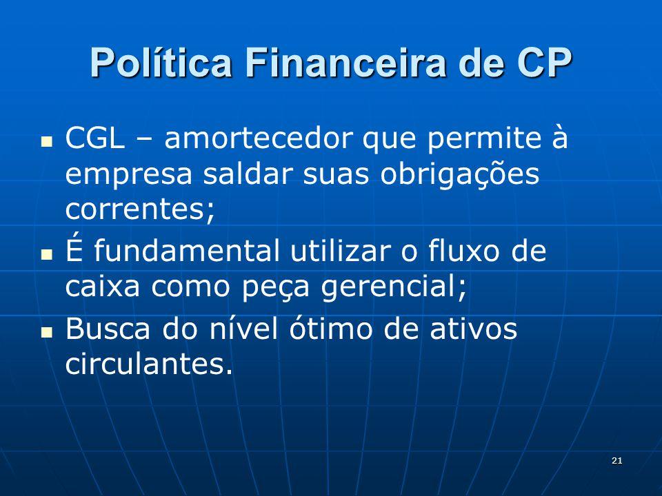 21 Política Financeira de CP CGL – amortecedor que permite à empresa saldar suas obrigações correntes; É fundamental utilizar o fluxo de caixa como peça gerencial; Busca do nível ótimo de ativos circulantes.
