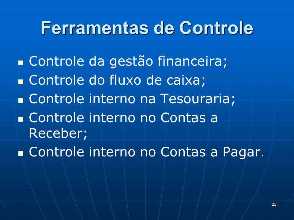 23 Ferramentas de Controle Controle da gestão financeira; Controle do fluxo de caixa; Controle interno na Tesouraria; Controle interno no Contas a Rec