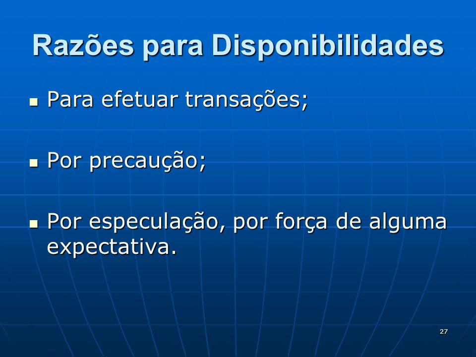 27 Razões para Disponibilidades Para efetuar transações; Para efetuar transações; Por precaução; Por precaução; Por especulação, por força de alguma expectativa.