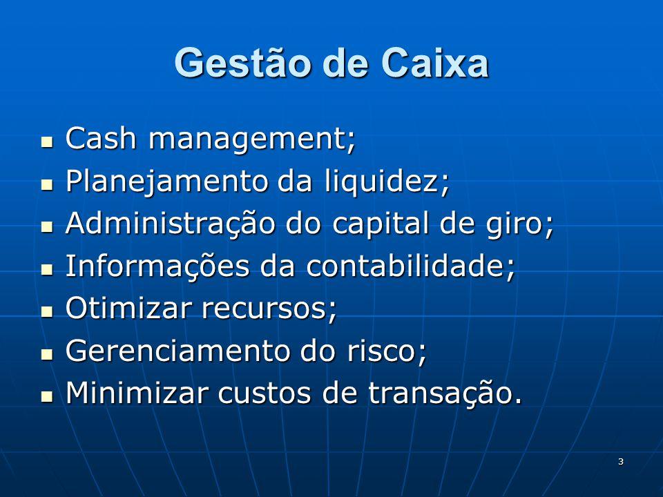3 Gestão de Caixa Cash management; Cash management; Planejamento da liquidez; Planejamento da liquidez; Administração do capital de giro; Administração do capital de giro; Informações da contabilidade; Informações da contabilidade; Otimizar recursos; Otimizar recursos; Gerenciamento do risco; Gerenciamento do risco; Minimizar custos de transação.