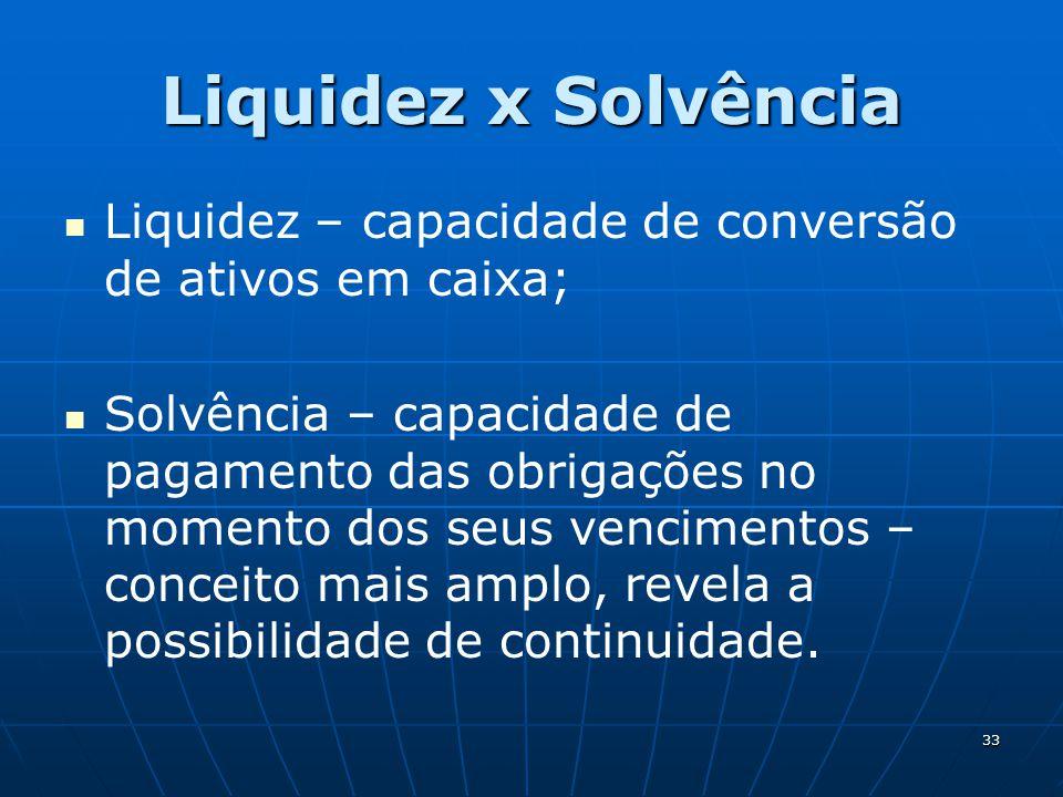 33 Liquidez x Solvência Liquidez – capacidade de conversão de ativos em caixa; Solvência – capacidade de pagamento das obrigações no momento dos seus vencimentos – conceito mais amplo, revela a possibilidade de continuidade.