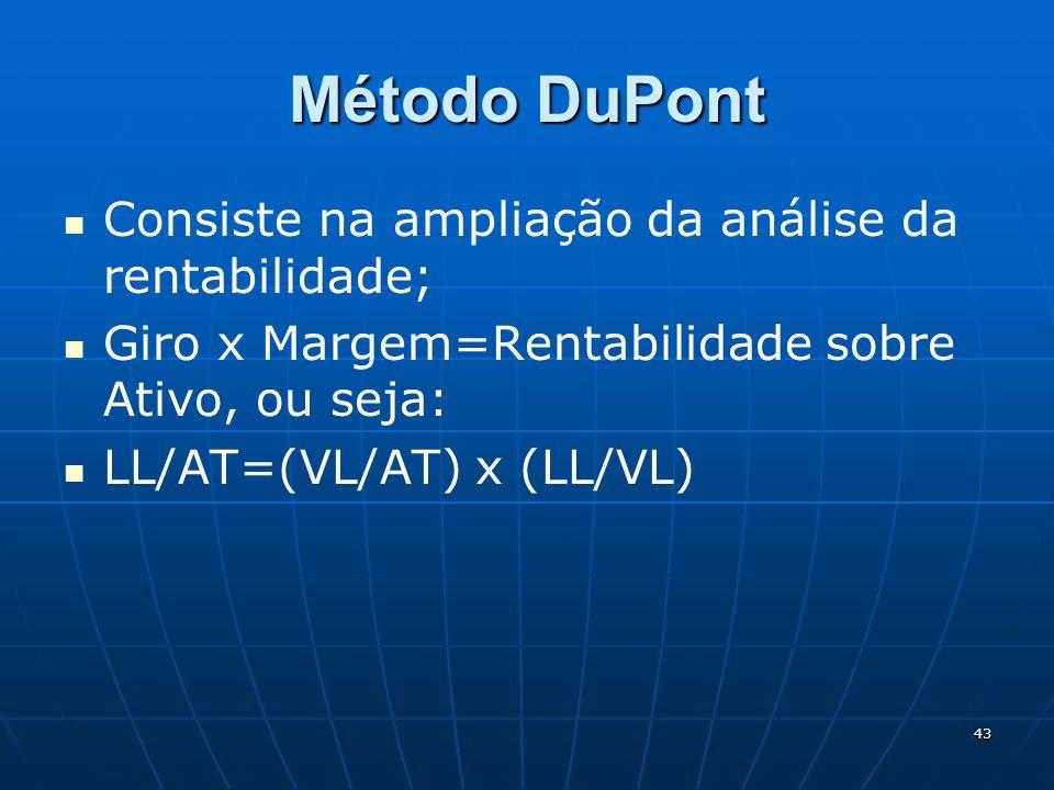 43 Método DuPont Consiste na ampliação da análise da rentabilidade; Giro x Margem=Rentabilidade sobre Ativo, ou seja: LL/AT=(VL/AT) x (LL/VL)