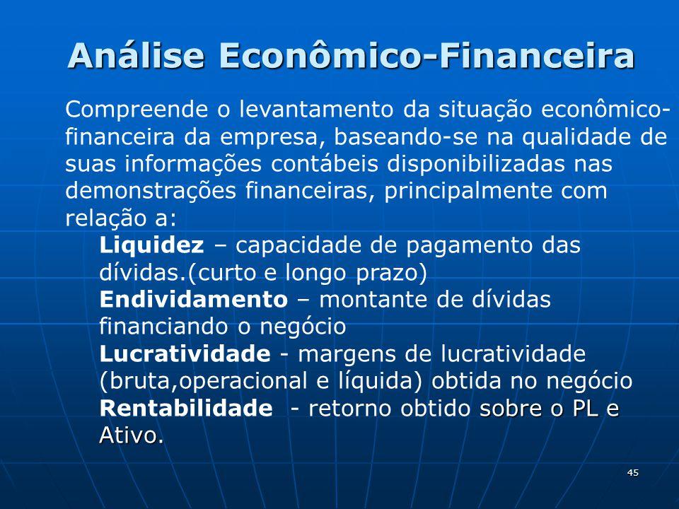 45 Análise Econômico-Financeira Compreende o levantamento da situação econômico- financeira da empresa, baseando-se na qualidade de suas informações contábeis disponibilizadas nas demonstrações financeiras, principalmente com relação a: Liquidez – capacidade de pagamento das dívidas.(curto e longo prazo) Endividamento – montante de dívidas financiando o negócio Lucratividade - margens de lucratividade (bruta,operacional e líquida) obtida no negócio sobre o PL e Ativo.