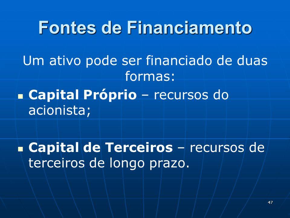 47 Fontes de Financiamento Um ativo pode ser financiado de duas formas: Capital Próprio – recursos do acionista; Capital de Terceiros – recursos de te