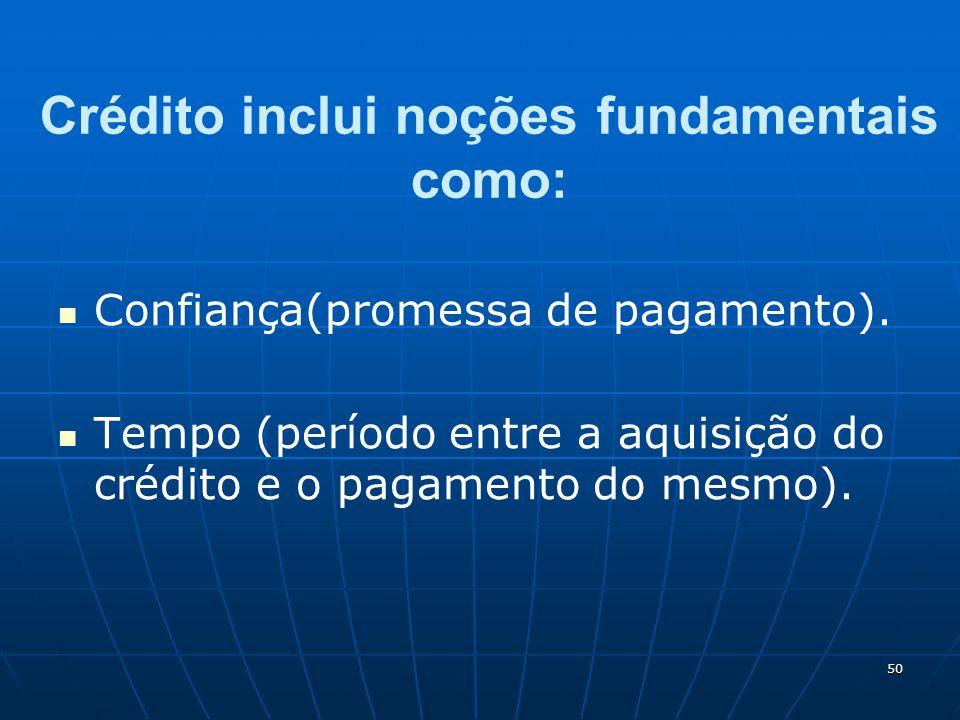 50 Crédito inclui noções fundamentais como: Confiança(promessa de pagamento). Tempo (período entre a aquisição do crédito e o pagamento do mesmo).