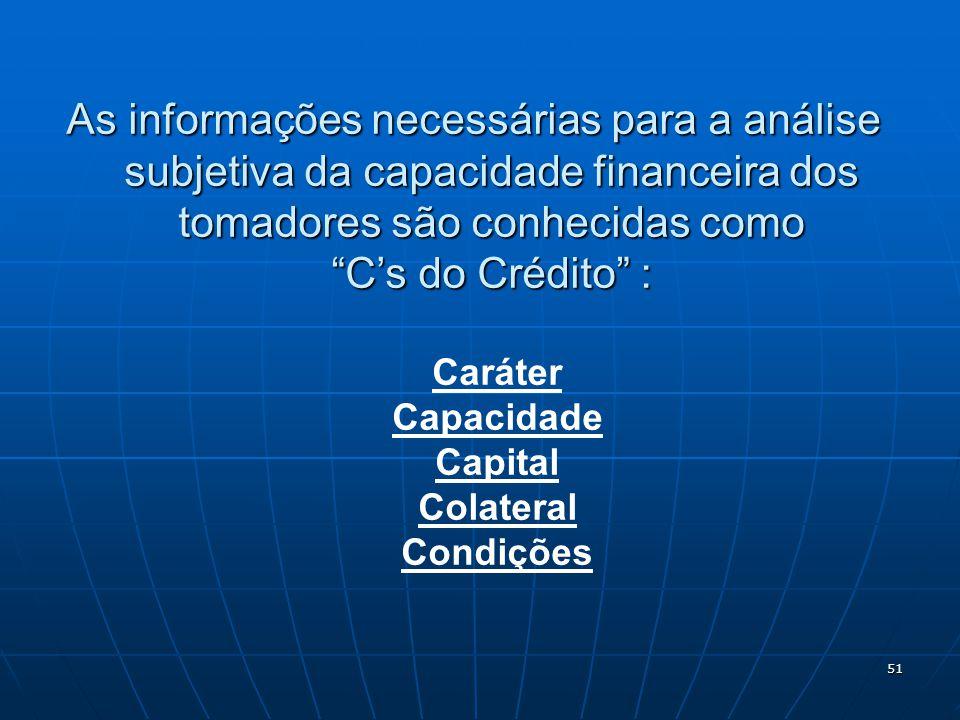 51 As informações necessárias para a análise subjetiva da capacidade financeira dos tomadores são conhecidas como Cs do Crédito : Caráter Capacidade Capital Colateral Condições