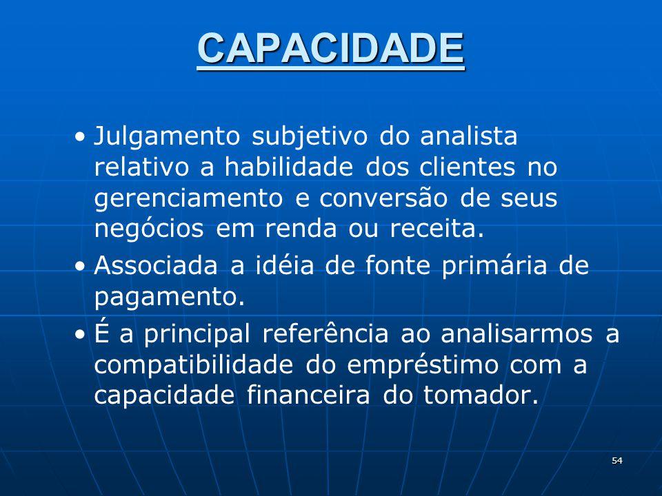 54 CAPACIDADE Julgamento subjetivo do analista relativo a habilidade dos clientes no gerenciamento e conversão de seus negócios em renda ou receita.
