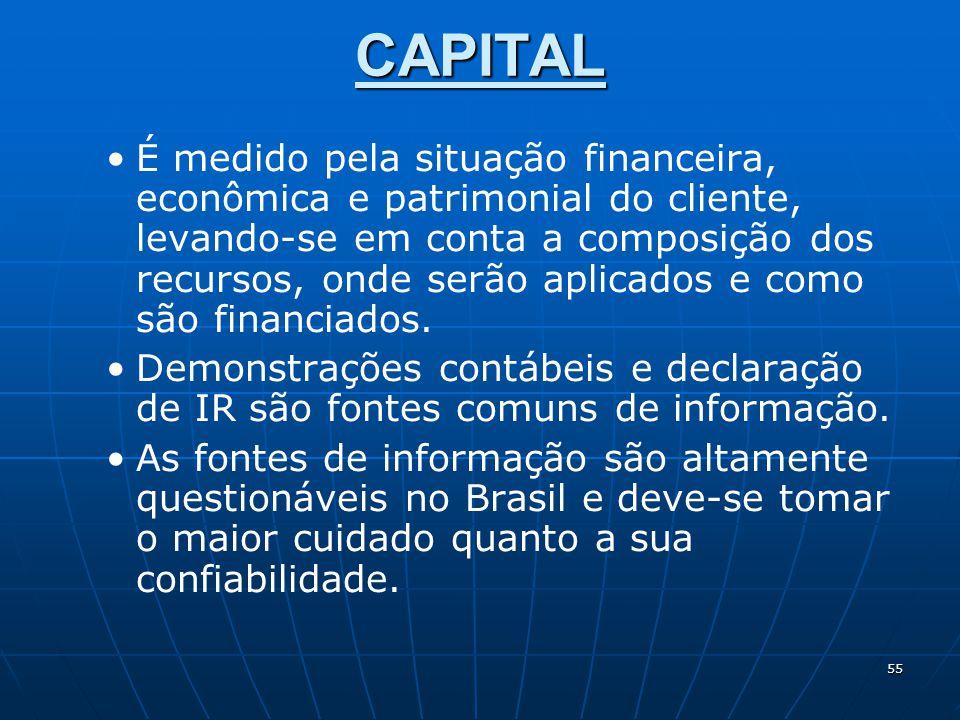 55 CAPITAL É medido pela situação financeira, econômica e patrimonial do cliente, levando-se em conta a composição dos recursos, onde serão aplicados e como são financiados.