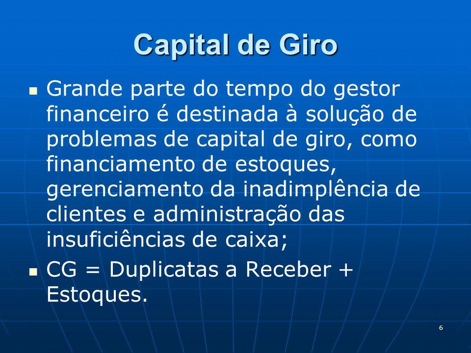 6 Capital de Giro Grande parte do tempo do gestor financeiro é destinada à solução de problemas de capital de giro, como financiamento de estoques, ge